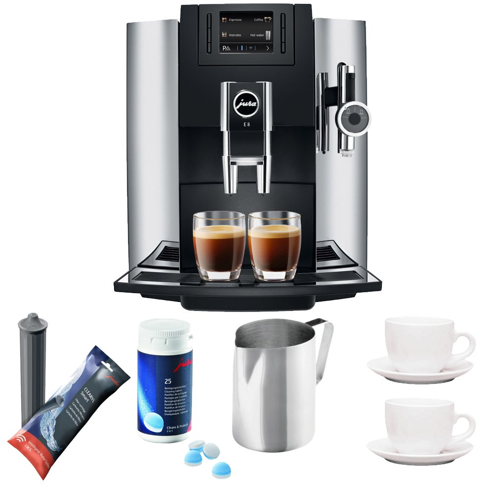 Jura 15097 Automatic Coffee Machine E8, Chrome Includes Jura Cleaning Tablets, Jura Smart Filter, Frothing Pitcher and Set of Two Mugs with Spoons