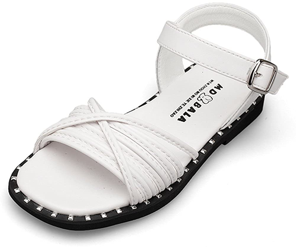SFNLD InStar Girls Casual Open Toe Low Cut Hook and Loop Antiskid Flats Sandals