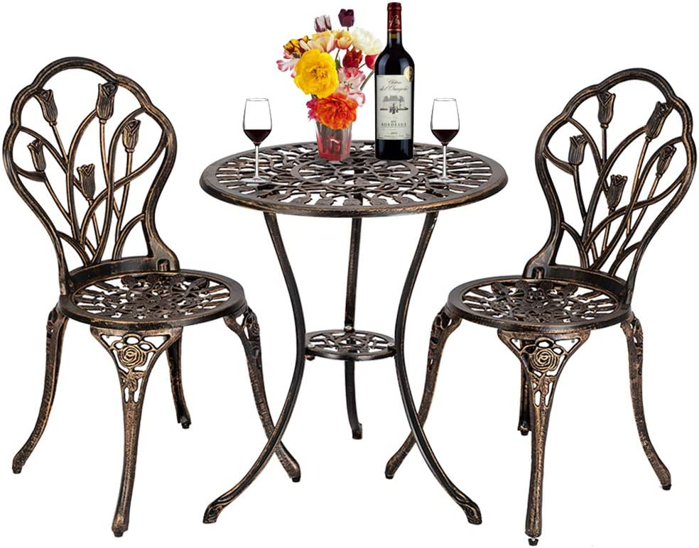 LOVEPET Classical Style Balcony Furniture Cast Aluminum Outdoor 3 Piece Tulip Bistro Set of Table and Chairs Bronze