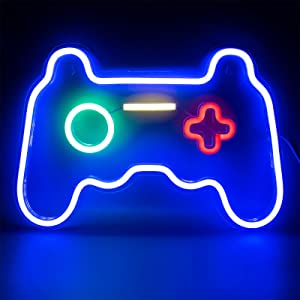 Neon Signs for Bedroom Wall Decor, Gaming Neon Lights for Game Room Decor, Game Controller USB Powered Switch LED Light Up Sign Cool Gamer Wall Decoration Gifts for Teen Boy Children, Man Cave, Arcade
