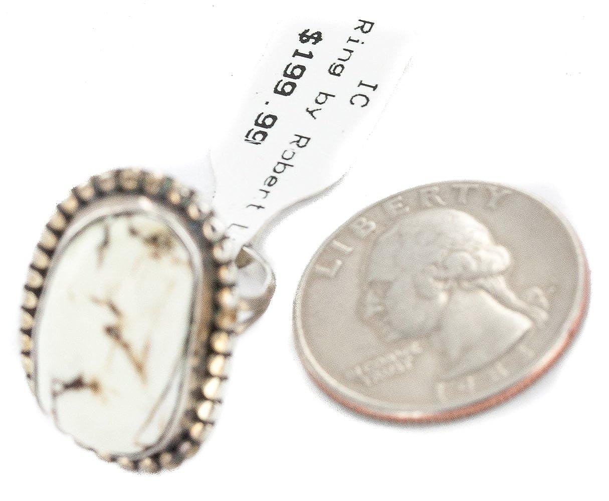 $200Tag Silver Certified Navajo Natural White Buffalo Native American Ring 16959-1 Made by Loma Siiva
