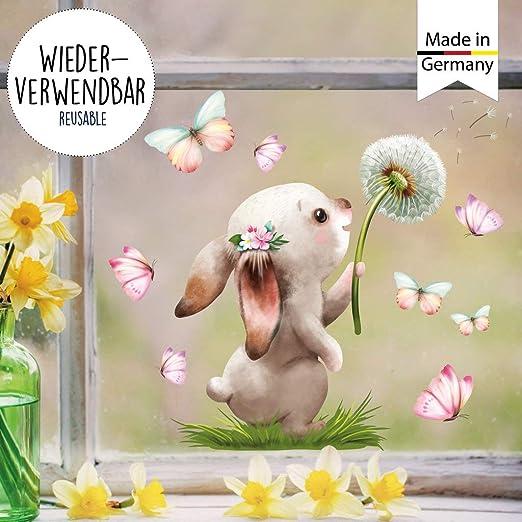 Fensterbilder Frühling Hase Pusteblume Fensteraufkleber Ostern wiederverwendbar