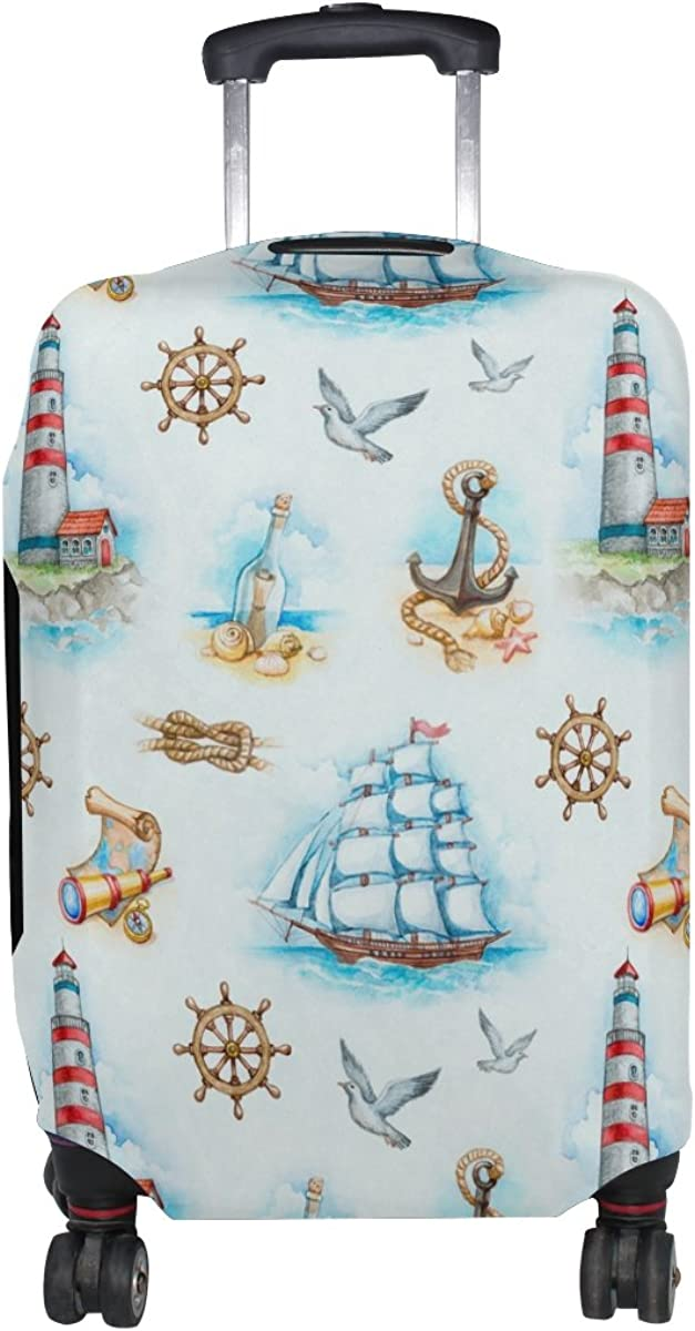 LAVOVO Nautical Anchor Lighthouse Watercolor Luggage Cover Suitcase Protector Carry On Covers