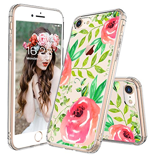 (iPhone 8 Case, iPhone 7 Case, MOSNOVO Girls Red Roses Floral Flower Printed Clear Design Transparent Plastic Hard Back Case with TPU Bumper Protective Case Cover for iPhone 7 (2016))