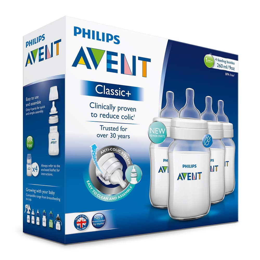 SCF563//47 Philips Avent Klassik Anti-Kolik Babyflaschen 260ml//9oz 4 St/ück - Wei/ß