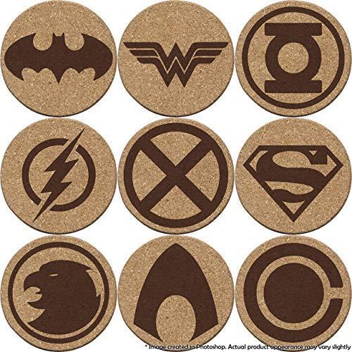 Justice League Cork Coaster Set of 4, 6, or 8 (Batman, Superman, Wonder Woman, The Flash, Green Lantern, Martian Manhunter, Hawkgirl, Aquaman, Cyborg) ()