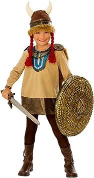 Horror-Shop Pequeño Disfraz Infantil Vikingo con Casco De Trompa S