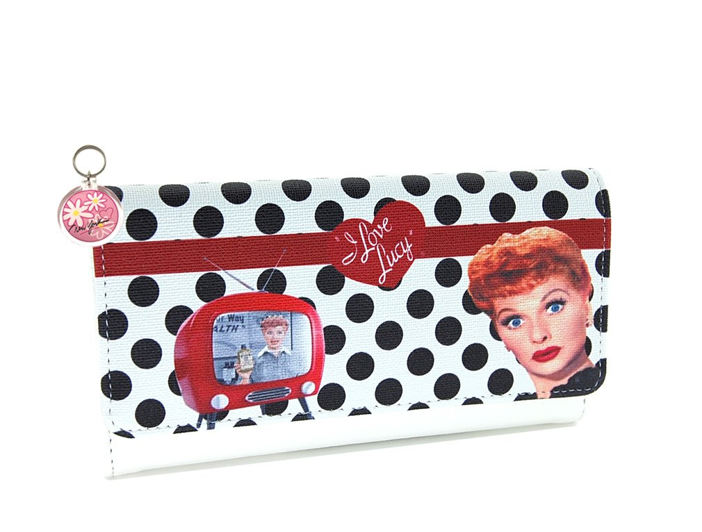 I Love Lucy Wallet- White with Polka dot Long Wallet