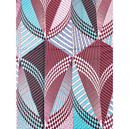 (Kente Print Fabric Real Wax Blue Wine Red White Geometry Shape Design 6 Yards rw2219)