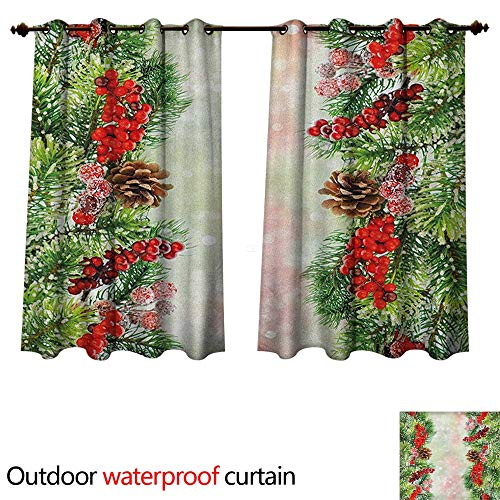 - Anshesix Christmas Outdoor Curtain for Patio Natural Vivid Tree Branch with Red Holly Berries on Blurred Snowy Background W72 x L72(183cm x 183cm)