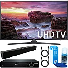 """Samsung (UN40MU6290) Flat 40"""" LED 4K UHD 6 Series Smart TV (2017l) w/ HDMI 1080p HD DVD Player + Solo X3 Bluetooth Home Theater Sound Bar + 2x 6ft HDMI Cable +Universal Screen Cleaner for LED TVs"""
