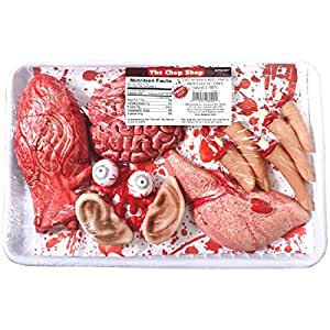 """Chopped Human Parts Meat Market Shop Value Pack Halloween Trick or Treat Party Prop Decoration, Plastic, 13"""" x 8"""" x 2""""."""