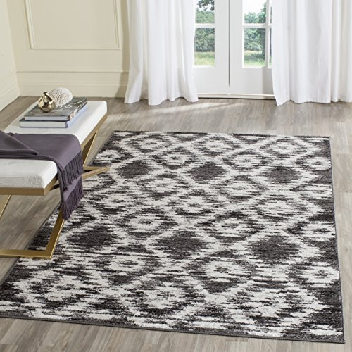 Safavieh Adirondack Collection ADR118R Charcoal and Ivory Modern Geometric Area Rug (5'1″ x 7'6″) For Sale