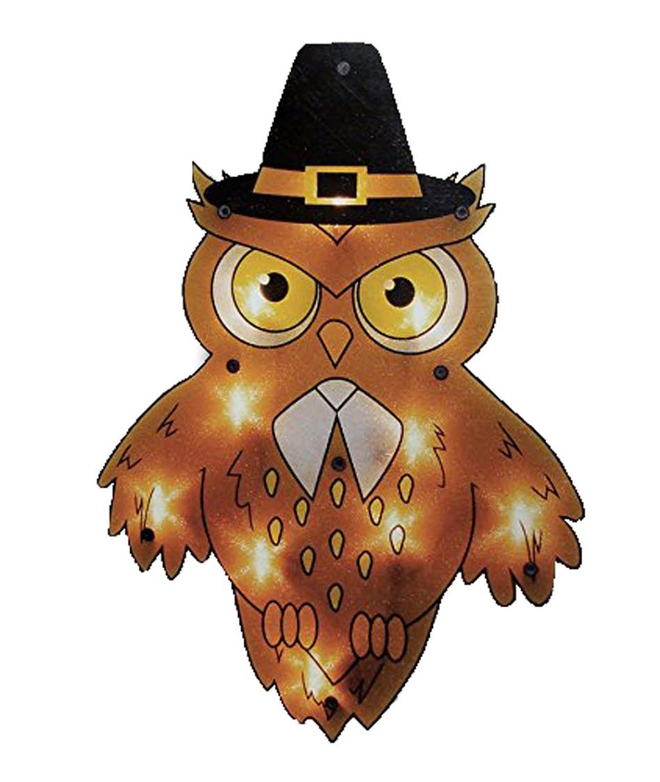 Impact 16'' Lighted Pilgrim Owl Thanksgiving Window Silhouette Decoration