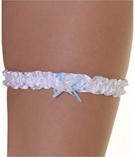 Mytoptrendz/® White Soft Floral Lace Wedding Garter With Small Blue Bow Detailing