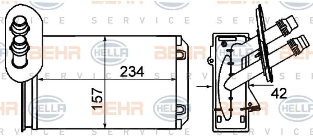 Behr Hella Service 8fh 351 001 621 Wärmetauscher Innenraumheizung Auto