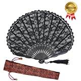 OMyTea Sexy Lace 9.06''(23cm) Women Folding Hand Fan with Bamboo Frame - With a Fabric Sleeve for Protection for Gifts - Chinese/Japanese Vintage Retro Style (Black Shell)