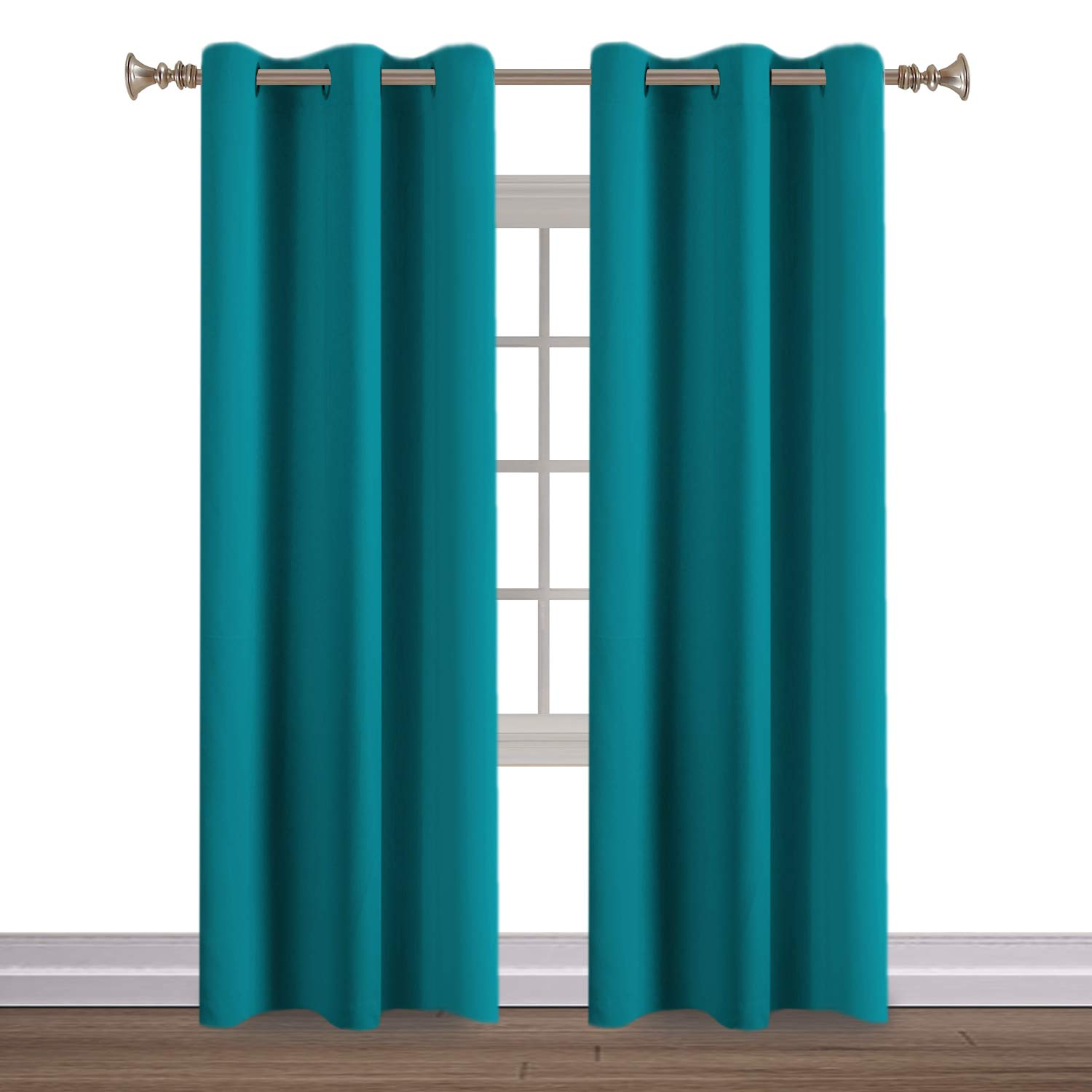Turquoize Teal Blackout Curtains Themal Insulated Grommet/Eyelet Top Window Treatment Nursery & Infant Care Panels Drapes, Each Panel 42'' W x 84'' L