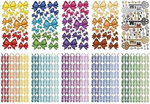 Ideen mit Herz Glimmer-Relief-Sticker, Schleifen & mehr, 9,9x9cm