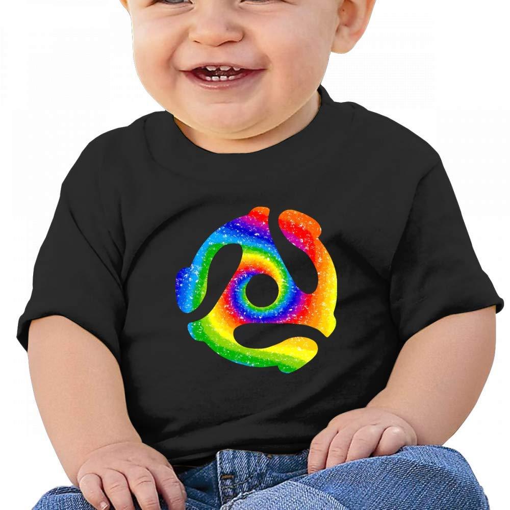 HTUAEUEHRH Glitter 45 Record Adapter Tie Dye Baby Boys Toddler Short Sleeve T-Shirts Tees
