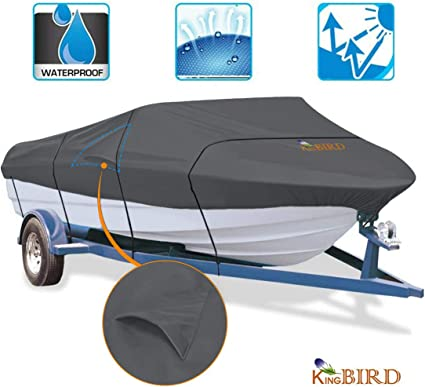 Durable and Tear Proof All Weather Outdoor Protection Fits 17-19 feet V-Hull Tri-Hull Heavy Duty 600D Polyester Oxford Professional Bass Runabout Boat Cover Anglink Waterproof Boat Cover