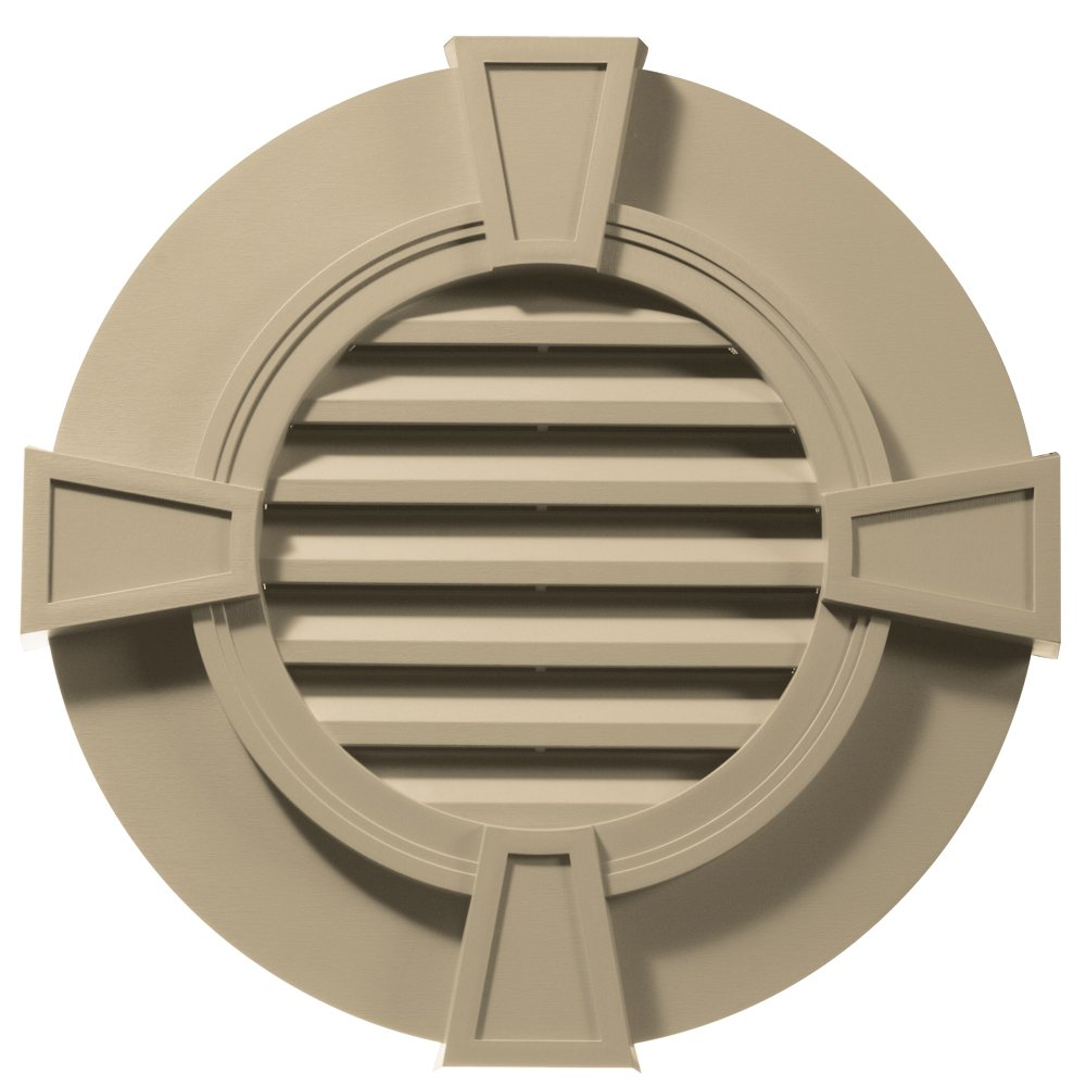 Builders Edge 120033030013 30'' Round Octagon Vent Wide Ring and Keystones 013, Light Almond