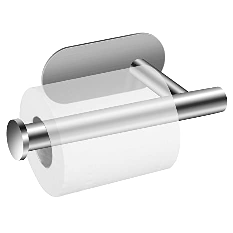 Portarrollos para Papel Higiénico, POOPHUNS Portarrollos baño Autoadhesivo Multifunción 304 Acero Inoxidable Soporte de Papel Adhesivo Sin Taladro ...