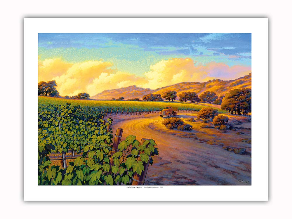 Pacifica Island Art - Vineyard Sunset - Wine Country Art by Kerne Erickson - Premium 290gsm Giclée Art Print 18in x 24in
