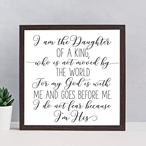 EricauBird I Am The Daughter of A King Wood Sign, Bible Verse Sign, Decorative Home Wall Art, Framed Sign for Home Wedding Party Farmhouse, Personalized Housewarming Gift, 12x12