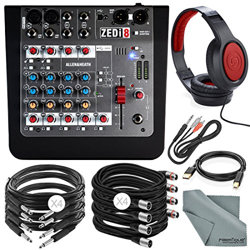 Allen & Heath ZEDi18 Compact 8-Channel Hybrid Mixer & USB Interface + Deluxe Bundle w/ Closed-Back Headphones, 10X Cables, Fibertique by Photo Savings