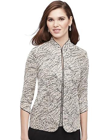b0470663b77 Alex Evenings Women's Petite Printed Mandarin Neck Twinset Tank Top and  Jacket