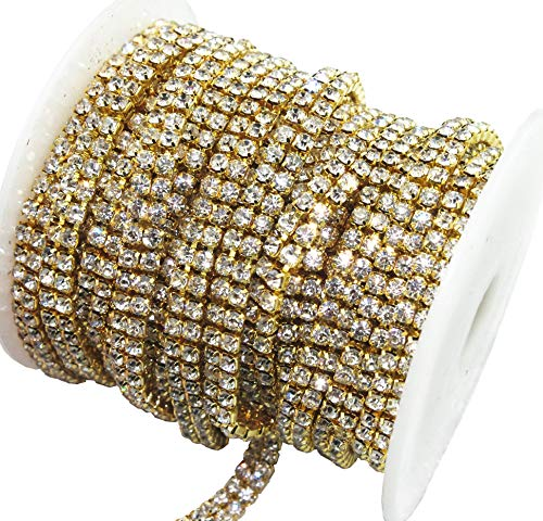 AEAOA 3 FEET 1 Yard 2 Rows SS12 3mm Clear Crystal Close Gold Plated Rhinestone Chain Trims Cup Chain Wedding Cake Decoration