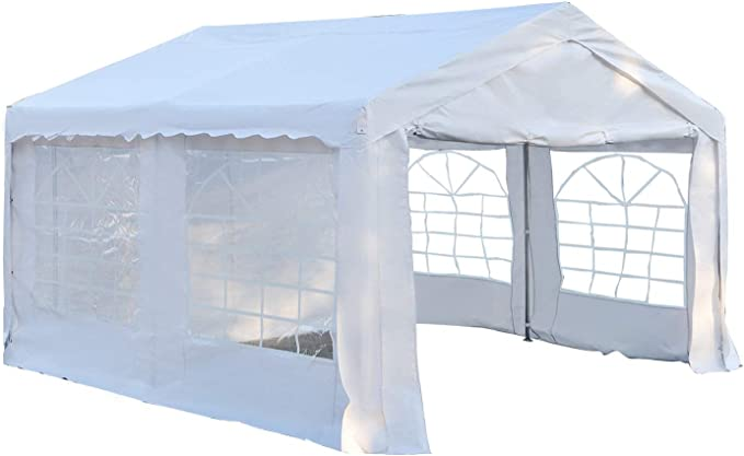 Outsunny Carpa de Jardín Cochera Gazebo 4x4m Pergola Cenador Pabellón 4 Paneles Laterales 4 Ventanas para Fiesta Eventos Bodas Acero PE Blanco: Amazon.es: Jardín