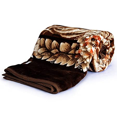Little India Mink Floral Microfibre Double Blanket - Brown