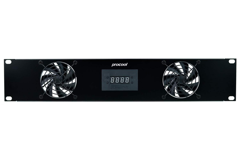 PROCOOL SP280XT-E / 2U Temperature Controlled Silent Rack Fan/Airflow= EXHAUST/Home Theater AV Cabinet Cooling Broadcast Server Recording Studio Rack Fan