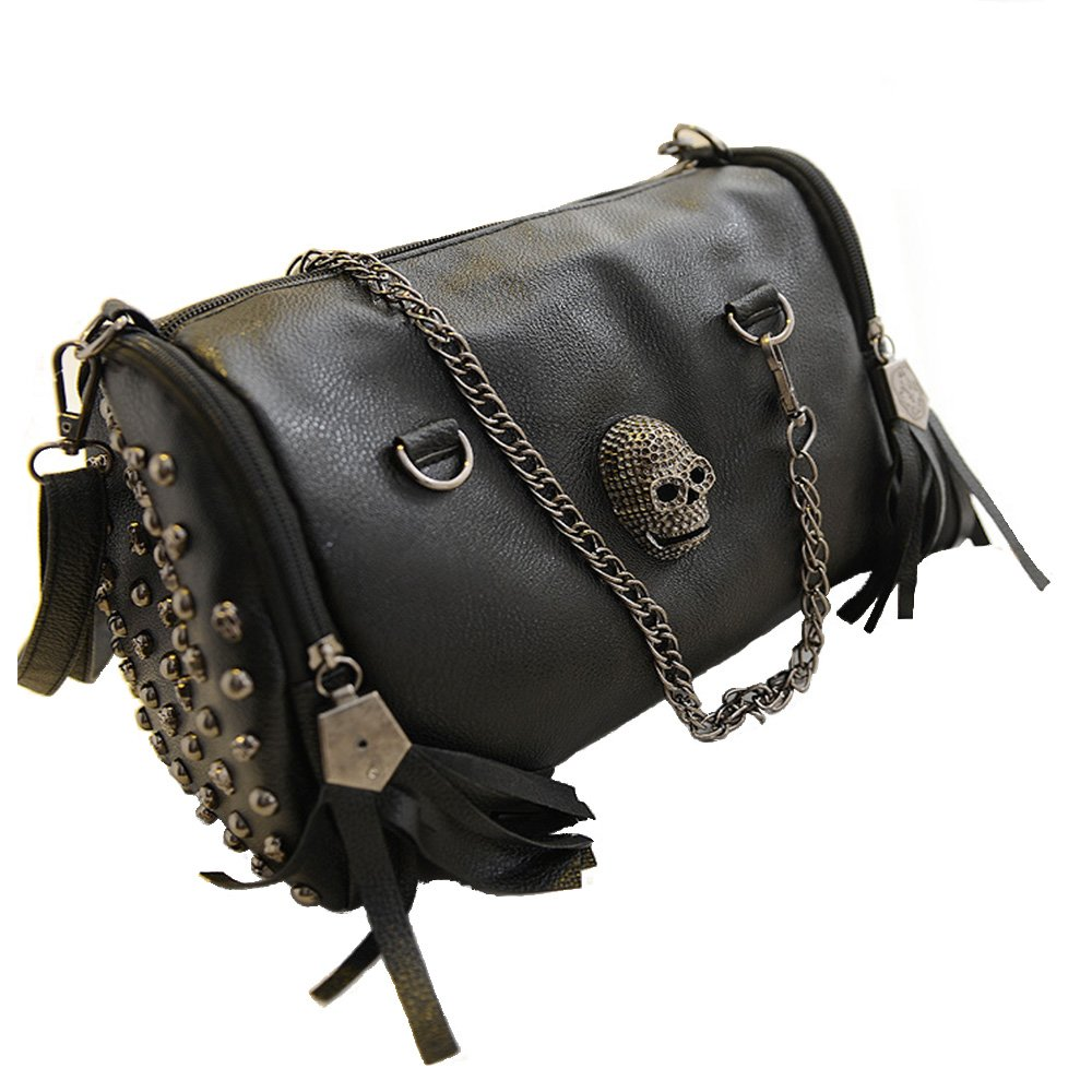 FiveloveTwo Personality Skull Women Top Handle Shoulder Bag Satchel Tote Purse Fashion Vintage Big Bag Black