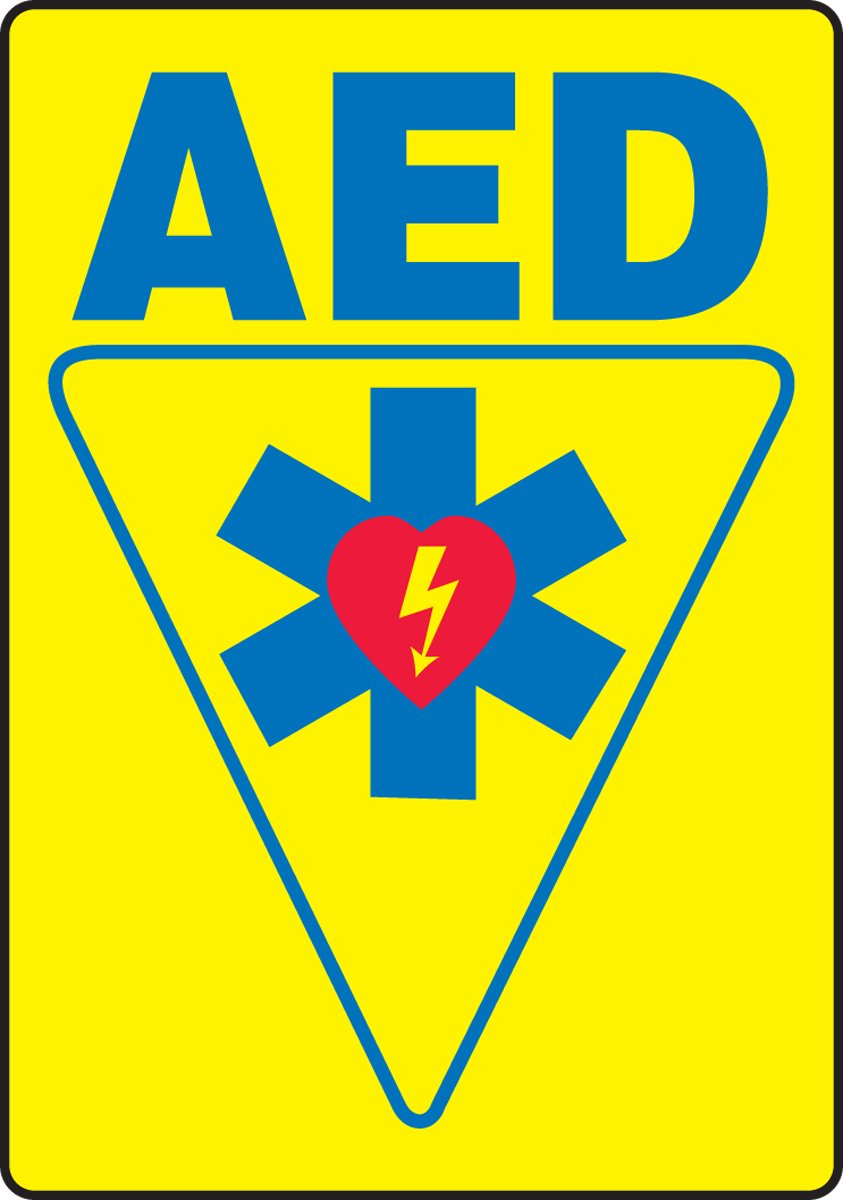 LegendAED with Graphic Accuform MFSD578VA Aluminum Safety Sign Blue//Red on Yellow 20 Length x 14 Width