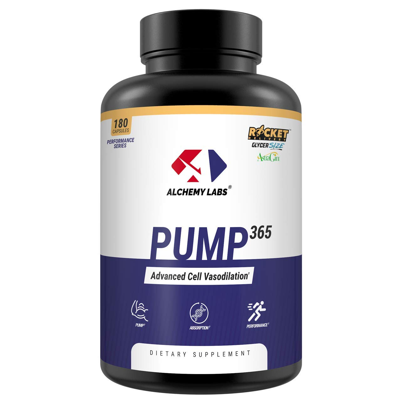 Alchemy Labs - Pump 365 - Nitric Oxide Booster - GlycerPump, GlycerSize, AstraGin, L Norvaline, Vanadyl Sulfate, Glycerol, Muscle Building, Pump Supplement, 180ct Pills