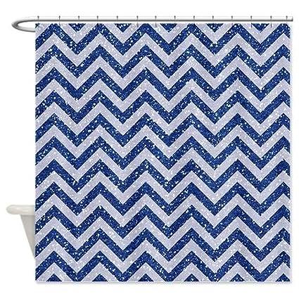 4b752b9e36b Amazon.com  Royal Blue Glitter Chevron Shower Curtain  Home   Kitchen