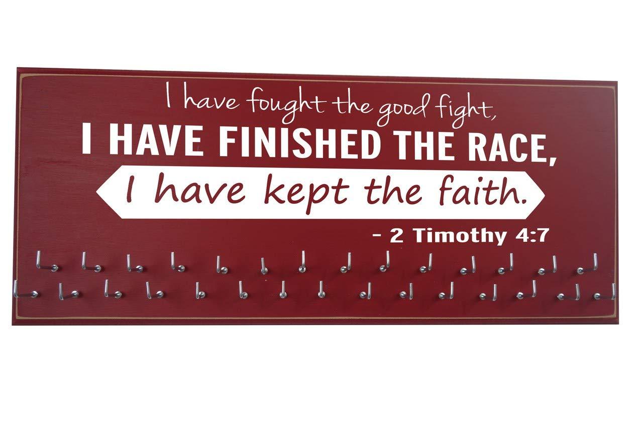 最高級 Running on - the wall-gifts - for runners-marathon - Medal display-medalラックfor running- Awardsハンガー – 壁マウントholder-「私が戦ったA Good Fight。。。- - - - - - - 2 Timothy 4 : 7