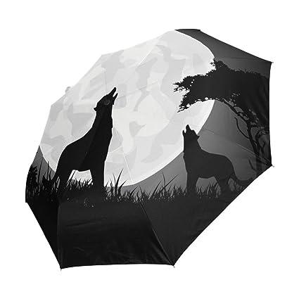 Amazon.com: imobaby Belleza Wolf Scream paraguas de viaje ...