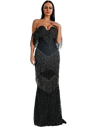 7483bcc1bea Miss ord Sexy Bra Off Shoulder Backless Dresses Female Tassel Glitter Maxi  Elegant Party Dress X