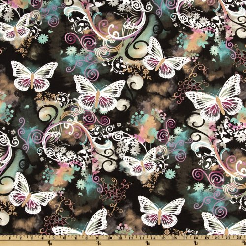 Michael Miller Filigree Flutter Fabric by The Yard, Black