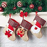 N&T NIETING 12pcs Christmas Candy Stocking Hanger with Santa Snowman Deer Christmas Socks Gift Bags Hanging Ornament for Christmas Party Decorations