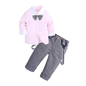 f89ebbd869795 2Pcs Baby Fall Set Toddler Baby Kids Boys Long Sleeves Gentleman Bow T-shirt  Tops