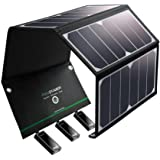 Solar Charger RAVPower 24W Solar Panel with 3 USB Ports Waterproof Foldable Camping Travel Charger Compatible iPhone Xs XS Max XR X 8 7 Plus, iPad, Galaxy S9 S8 Note 8, Nexus, LG, HTC and More
