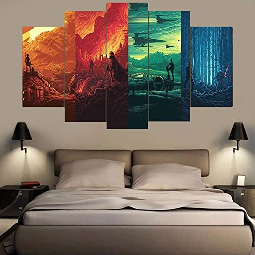 Canvases Print Modular Wall Art Framed 5 Pieces Star Wars 4 Worlds Painting Living Room Prints Movie Poster Home Decor Artwork Framed Ready to Hang,A,40x60x240x80x240x100x1