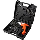 KKmoon 45pcs 3.6-4.8V Multifunctional Mini Cordless Rechargeable Screwdriver Drill Driver Bit Kit with LED and Battery Indicator