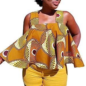 LANDFOX Women African Print Tee Shirt Sleeveless Tops Strapless Blouse T Shirt Plus Size (L, Coffee)