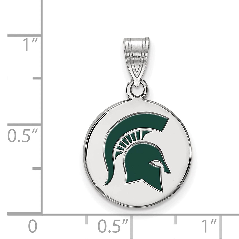 925 Sterling Silver Rhodium-plated Laser-cut Michigan State University Medium Enameled Disc Pendant
